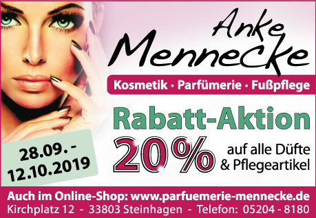 Parfümerie Mennecke 20% Rabatt-Aktion